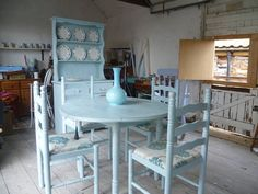 Shabby Chic Welsh Dresser table & 4 chairs in by Straight2chic, £400.00