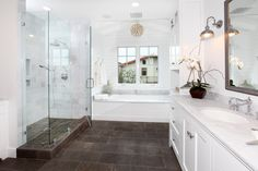 37 chocolate brown bathroom floor tiles ideas and pictures 2019 White Subway Tile Bathroom, White Master Bathroom, Brown Bathroom, Bathroom Floor Tiles, Bathroom Renos, Bathroom Ideas, Bathroom Designs, Pool Bathroom, White Bathrooms