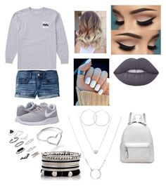 """""""Summer's day"""" by hallie-bray on Polyvore featuring American Eagle Outfitters, Billabong, NIKE, Lime Crime, Jordan Askill and Topshop"""