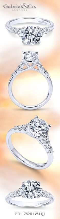 Gabriel & Co. - Voted Most Preferred Fine Jewelry and Bridal Brand. Meet Kate - Without breaking your pocket! Affordable and sleek Victorian White Gold Round Straight Engagement Ring. Popular Engagement Rings, Round Solitaire Engagement Ring, Three Stone Engagement Rings, Engagement Ring Styles, Designer Engagement Rings, Gabriel, Beautiful Wedding Rings, Jewelry Gifts, Fine Jewelry