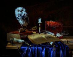 Still life - owl, book, candle, fabric, still life, table, box, bird