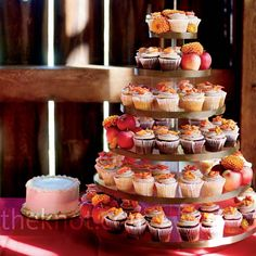 Add Apples To A Cupcake Tower For Fall Themed Wedding Photo By Jen
