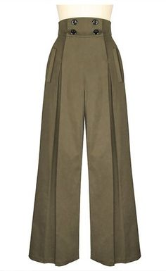 Look hip in these pleated wide-leg retro inspired pants! These high waisted pants have four buttons on the front that function for the opening, with convenient Fashion Pants, Look Fashion, Hijab Fashion, Fashion Dresses, Plus Size Vintage, Vintage Mode, Vintage Style, Unique Vintage, Retro Style