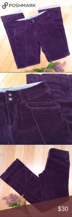 ATHLETA pants, sz 4 Tall. Purple ATHLETA pants size 4 T tall. Great condition, boot cut. Snaps and zipper with an internal drawstring. Soft almost velour feeling, perfect for fall and winter. A purply eggplant color. Waist is 15 inches across, inseam is 34 inches, leg opening is 9 inches across. Really beautiful pants. Athleta Pants Boot Cut & Flare
