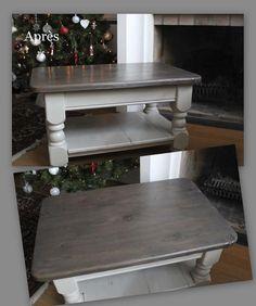 Table basse en pin devenue ficelle pour le bas et gris vieilli pour le plateau