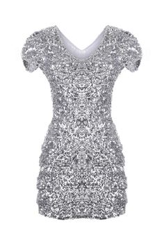 Sequin Silvery Shift Dress  $72.00