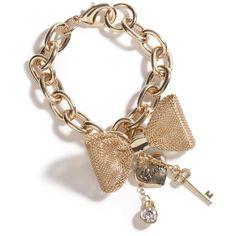 Guess Gold-Tone Mesh Bow Bracelet