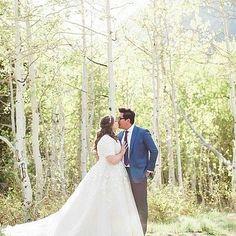 modest wedding dress. Plus size wedding dress. LDS Temple wedding. 3/4 sleeve wedding dress. lace ballgown. allure.