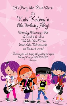Rock star party invite wording