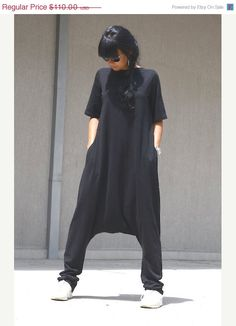 ON SALE Free Shipping Black Jumpsuit / Loose by KOTYTOstyleLAB