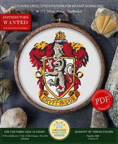 This is modern cross-stitch pattern of Gryffindor for instant download. You will get 7-pages PDF file, which includes: - main picture for your reference; - colorful scheme for cross-stitch; - list of DMC thread colors (instruction and key section); - list of calculated thread