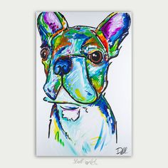 Original Colorful French Bulldog Painting Modern by DellArt