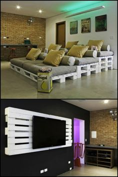 Who says building a movie theater at home requires a fortune? You can create your own cosy home theater for a song - by just sourcing a few pallets and matching cushions!