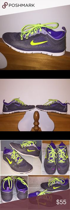 Nike Free TR Fit 4.0 In great condition. Only worn a few times. Purple with neon green lace. Great for running and workout. Nike Shoes Athletic Shoes