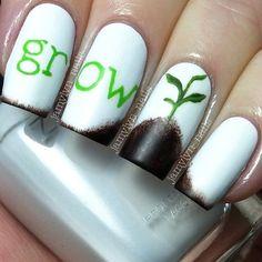 gardening nail art - by jamylyn_nails Fancy Nails, Cute Nails, Pretty Nails, Crazy Nail Art, Cool Nail Art, Garra, Gothic Nails, Nail Pops, How To Grow Nails