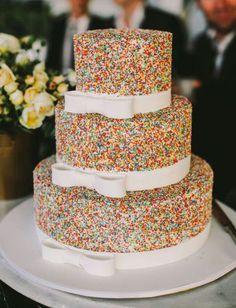 Sprinkle wedding cake! Makes me happy!