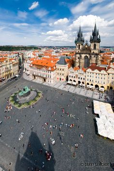 The Old Town Square and the Church of Our Lady before Tyn inPrague, Czech Republic.