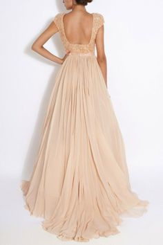 Peach pastel long dress. A bit more coverage at the back