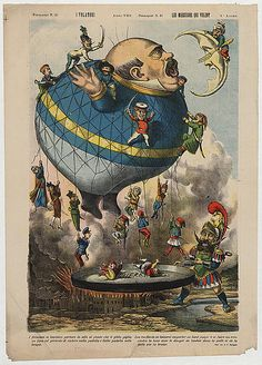 """I volatori. Les messieurs qui volent Italian political cartoon shows a large balloon (""""Politica"""") in the shape of a man ready to gobble up the moon (""""Oriente"""") defended by a man (""""Turco"""") holding a fo Satirical Cartoons, Political Cartoons, Cartoon Posters, Cartoon Art, Cartoon Painting, Balloon Cartoon, Large Balloons, Water Balloons, Political Art"""