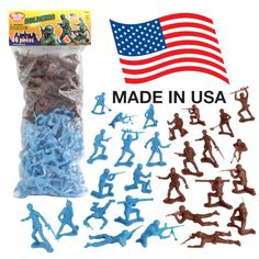 This bag of 96 Tim Mee 'plastic army men' is proudly manufactured in the United States, and includes 48 black and 48 blue troops for maximum play value. There's about 12 different figures and all your old favorites are here. Plastic Company, Green Army Men, Plastic Toy Soldiers, Toys Logo, Beach Toys, Old Toys, Things To Come, Usa, Bright Green