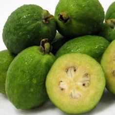 Feijoa is a distant member of the guava family and the flavor of the feijoa is of an aromatic strawberry Pitaya, Exotic Fruit, Tropical Fruits, New Zealand Food And Wine, Pineapple Guava, Guava Fruit, New Zealand Houses, Walnut Cake, Kiwiana
