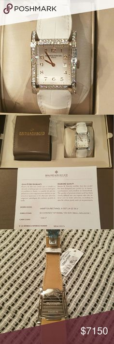 "Baume & Mercier Hampton 10025 Stunning Authentic Women's ""Tank"" style watch NWT! Originally purchased as a graduation gift, I've had it for 3 months & never worn it just doesn't fit me or my lifestyle! I am here in hopes of finding someone who will ware and appreciate the piece, sell only no trades sorry. Watch features include 2 rows of diamond's framing the dial (tcw 1.53), genuine alligator leather strap w/deployant buckle, and date function. The watch includes presentation box, travel…"