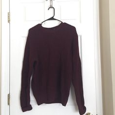 Burgundy Sweater Color is a little lighter than the picture, its a size Small but I think its more Medium so it can give you the oversized look! Really warm perfect for rainy spring days! Worn once Liz Claiborne Sweaters Crew & Scoop Necks