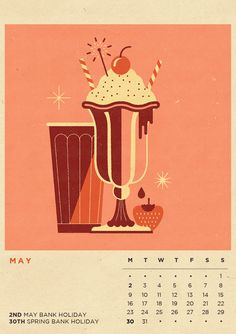 Our Infamous Illustrated Calendar is BACK! Containing 12 BRAND NEW illustrations inspired by our favourite seasonal beverages. Get the calendar complete with our beautiful high quality, veneered dark wood clipboard, as pictured above here:http:& Retro Illustration, Food Illustrations, House Illustration, Vintage Design, Vintage Art, Vintage Style, Cool Small Tattoos, Calendar Design, Retro Art