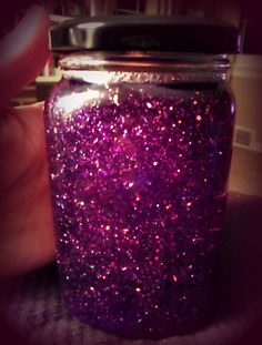 Calming #Glitter #Jar - very easy and great for small kids, but worked on me as well. :) Clear glue, hot water, glitter, food coloring (optional) and a jar is all you need! #purple