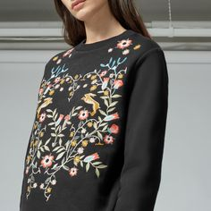 Warehouse, THISTLE EMBROIDERED SWEAT Black 4