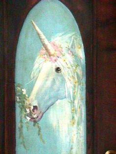 unicorn painted door