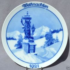 ROSENTHAL-1921-CHRISTMAS-Weihnachten-Plate-Christmas-in-the-Mountains Christmas Plates, Winter, Tableware, Frame, Mountains, Blue, Xmas, Noel, Christmas