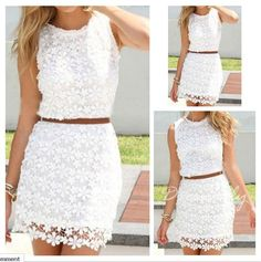 Love Love Love White Lace! This would be a Cute Dress for Easter! Sweet White Floral Lace Hollow-out Lace Dress #White #Lace #BodyCon #Spring #Mini #Dress #Fashion #Dresses #Lace_Dresses