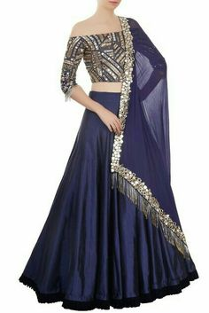 Buy blue taffeta silk with precipitant lace work & resham work designer lehenga choli online.This set is features a blue blouse in silk fully embellished with mirror work, embroidery.It has matching blue lehenga in taffeta silk with beautiful embroide Navy Blue Lehenga, Silk Lehenga, Lengha Choli, Manish Malhotra Lehenga, Manish Malhotra Bridal, Indian Attire, Indian Ethnic Wear, Ethnic Dress, Prom