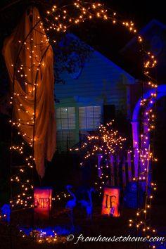 Orange String Lights Outline the Arbor | 11 Ways To Create Spooky Halloween Lighting