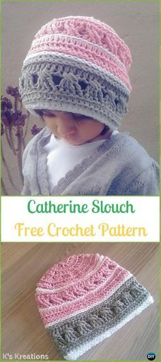 Crochet Catherine Slouch Beanie Hat Free Pattern -Crochet Slouchy Beanie Hat  Free Patterns cdc1de1b2f30