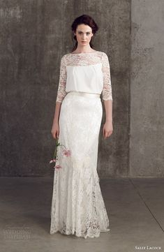 sally lacock wedding dresses 2014 bridal separates stevia three quarter sleeve lace top cicely lace skirt