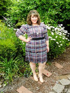 Hailey is wearing the Triste Bright Plaid Printed Chelsea Dress from Gwynnie Bee. - DivineMrsDiva.com #GwynnieBee #ShareMeGB