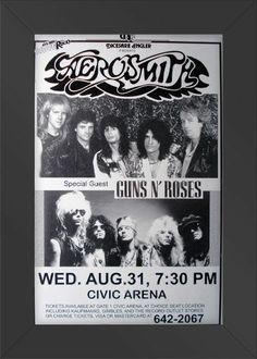 HIGH QUALITY WOOD FRAMED Aerosmith Live with Guns N Roses Concert Poster