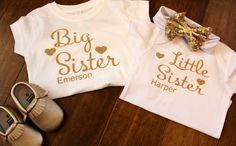 Big Sister Big Brother Shirts, Big Sister Little Sister, Little Sisters, Sisters By Heart, Glitter Shirt, Girls Bows, Headband Hairstyles, Future Baby, Baby Items