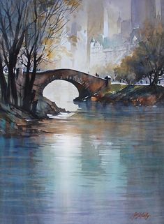"*Watercolor - ""The Gapstow Bridge"" by Thomas W. Schaller"