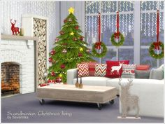 A set of furniture and decor for the living room in a Scandinavian style.  Found in TSR Category 'Sims 4 Downloads' - I want the fireplace and couch pieces.