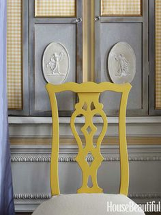 Yellow chairs add a jolt of optimism and ideas. Jane shutters are painted Kelee Katillac's Directoire Grey.