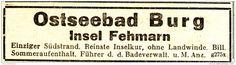 Original-Werbung/ Anzeige 1933 - OSTSEEBAD BURG / INSEL FEHMARN - ca. 80 x 25 mm