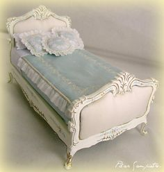 1:12th scale miniature dressed French style bed