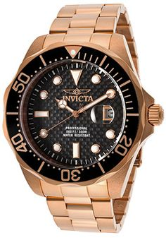 Invicta 14541 Watches,Men's Pro Diver Black Textured Dial 18K Rose Gold Plated Stainless Steel, Men's Invicta Quartz Watches
