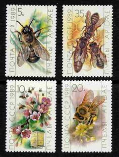 Russian honeybee stamps | photo pinned by Western Sage and KB Honey (aka Kidd Bros)                                                                                                                                                      More