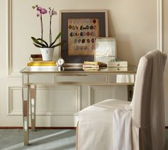 Park Mirrored Desk | Pottery Barn  Turn into a vanity for the master?