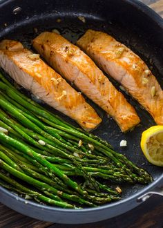 Healthy, Quick, and Flavorful. This one pan lemon-garlic salmon and asparagus is ready in under 10 minutes and is packed with the delicious flavors of lemon-garlic and butter.  If you're look…