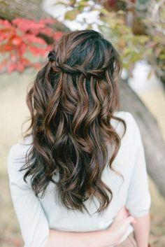 waterfall crown braid + gentle waves | prom hairstyle for long haur